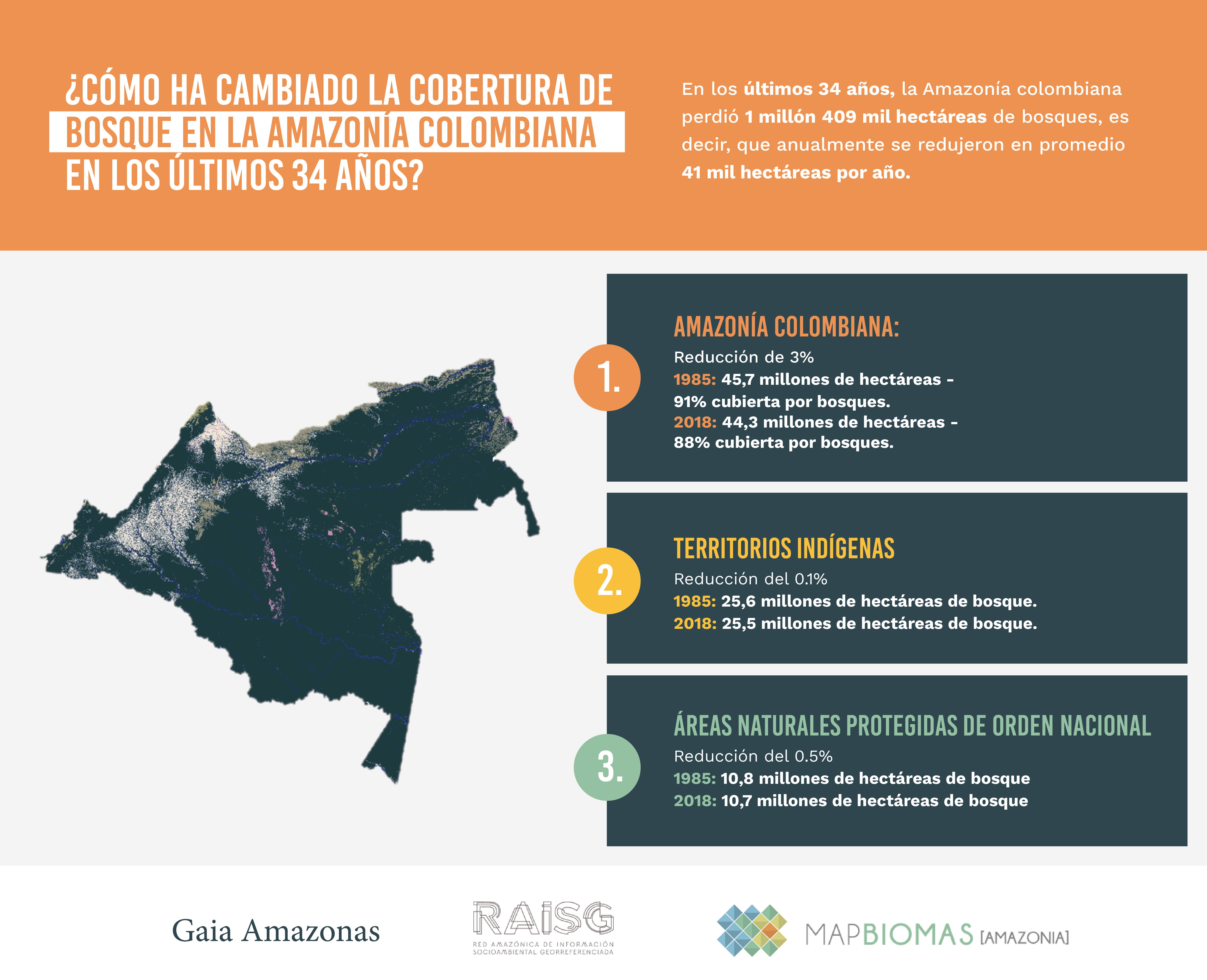 Amazonía colombiana perdió 1,4 millones de hectáreas de bosque en 34 años